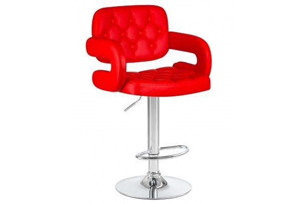 Стул барный TIESTO, цвет сиденья красный, цвет основания хром купить в салоне-студии мебели Барселона mnogospalen.ru много спален мебель Италии классические современные